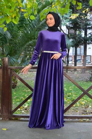 Kemerli Tesettür Elbise Kadife 2929 Mor