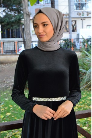 Kemerli Tesettür Elbise Kadife 2929 Siyah