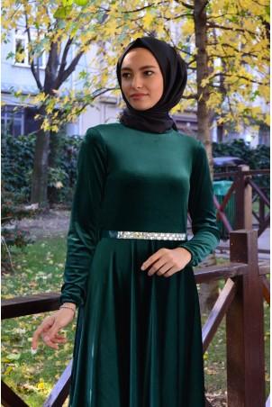 Kemerli Tesettür Elbise Kadife 2929 Zümrüt Yeşili
