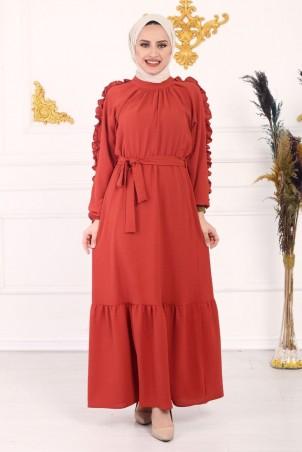 Kolu Fırfırlı Ayrobin Elbise Kiremit
