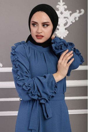 Kolu Fırfırlı Ayrobin Elbise Mavi