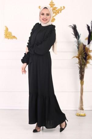 Kolu Fırfırlı Ayrobin Elbise Siyah