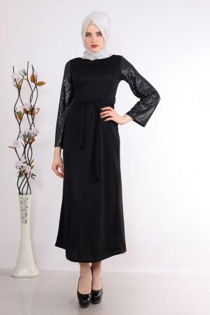 Kolu Pullu Tesettür Elbise Siyah