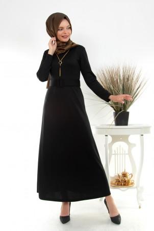 Kolyeli Kemerli Tesettür Elbise Siyah