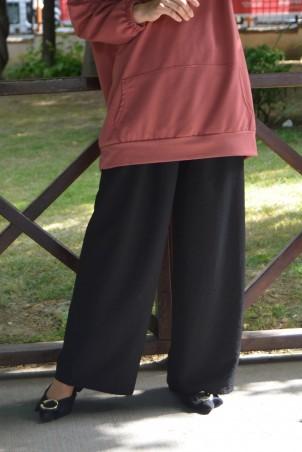 Lastikli Bol Paça Krep Pantolon Siyah