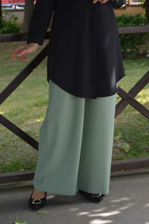 Lastikli Bol Paça Krep Pantolon Su Yeşili