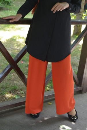 Lastikli Bol Paça Krep Pantolon Turuncu