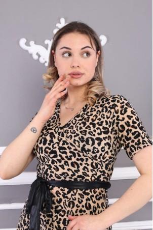 Leopar Desen Kuşaklı Elbise