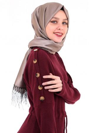 Omuzları Düğme Detaylı Tesettür Elbise Bordo