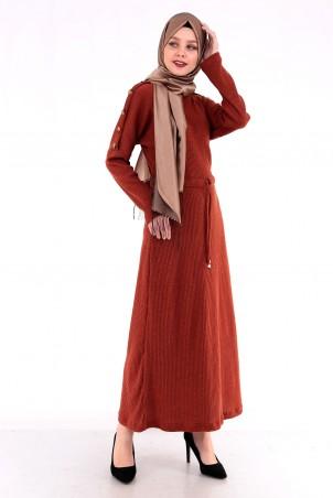 Omuzları Düğme Detaylı Tesettür Elbise Kiremit