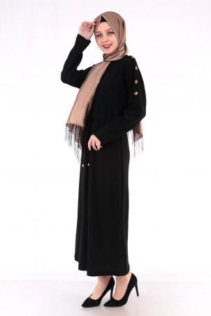 Omuzları Düğme Detaylı Tesettür Elbise Siyah