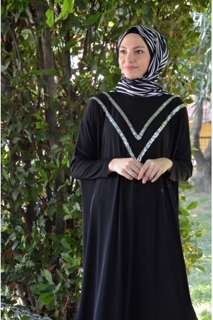 Omuzu Pul Şeritli Giy Çık Tunik Siyah