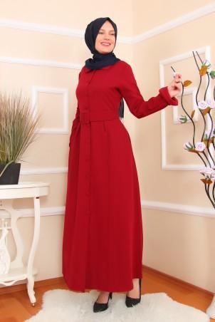 Önden Düğmeli Cepli Elbise Ferace Bordo