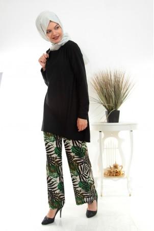 Pantolonu Çiçekli Tesettür İkili Takım Siyah