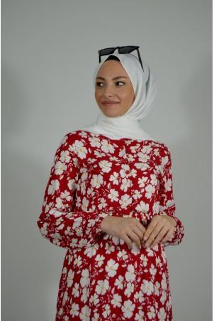 Papatya Desenli Elbise Kırmızı
