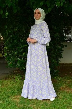 Papatya Desenli Elbise Lila