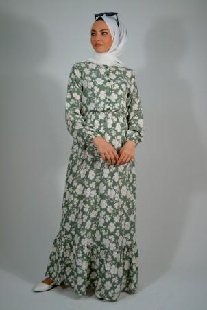 Papatya Desenli Elbise Mint Yeşili
