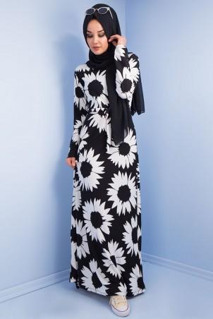 Papatya Desenli Tesettür Elbise Siyah