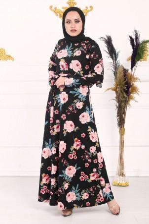 Pembe Çiçek Desenli Elbise
