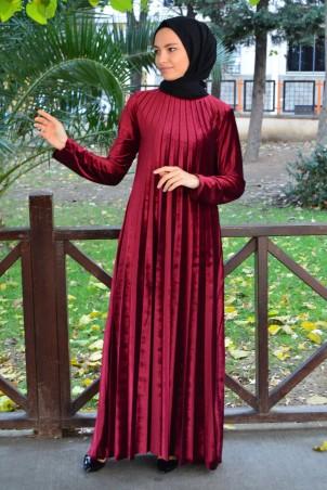 Piliseli Tesettür Elbise Kadife 1155 Bordo