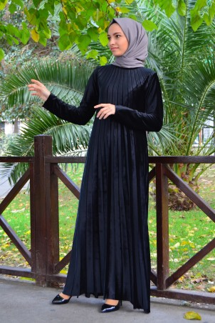 Piliseli Tesettür Elbise Kadife 1155 Siyah