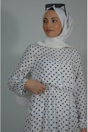 Puantiyeli Elbise Beyaz