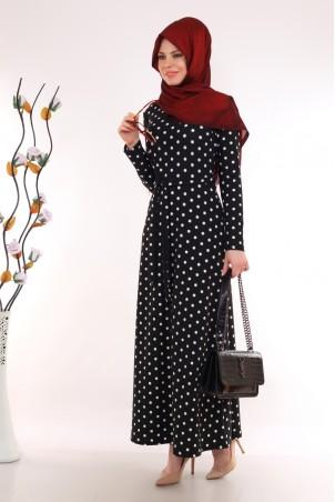 Puantiyeli Tesettür Elbise Siyah