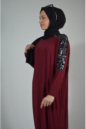 Pul Payet Detaylı Salaş Elbise Bordo