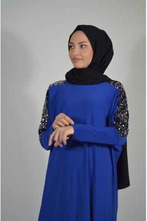 Pul Payet Detaylı Salaş Elbise Saks Mavisi