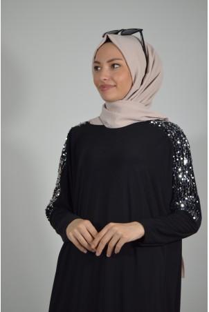 Pul Payet Detaylı Salaş Elbise Siyah