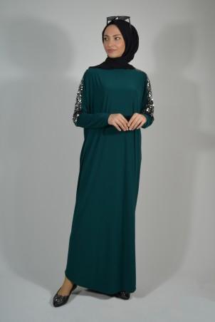 Pul Payet Detaylı Salaş Elbise Zümrüt Yeşili