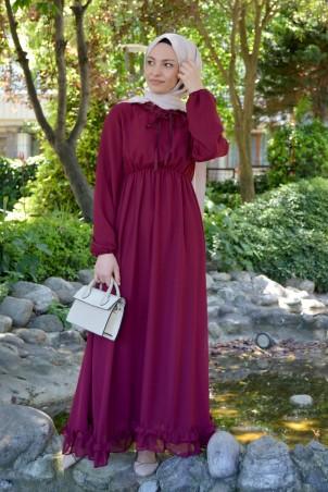 Şifon Tesettür Elbise Bordo