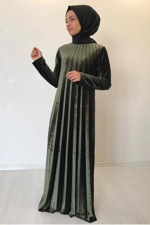 Tesettür Piliseli Kadife Elbise Haki