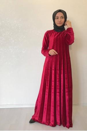 Tesettür Piliseli Kadife Elbise Kırmızı