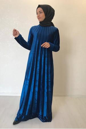 Tesettür Piliseli Kadife Elbise Petrol