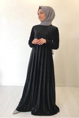 Tesettür Piliseli Kadife Elbise Siyah
