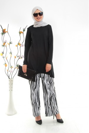 Zebra Desenli Tesettür İkili Takım